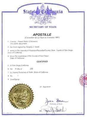 certificat de coutume apostille